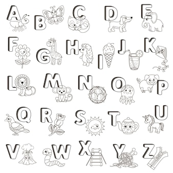 Vektor-abc-plakat. großbuchstaben des englischen alphabets mit niedlichen comic-tieren und dingen. malvorlage für kindergarten und vorschulerziehung. karten zum englischlernen