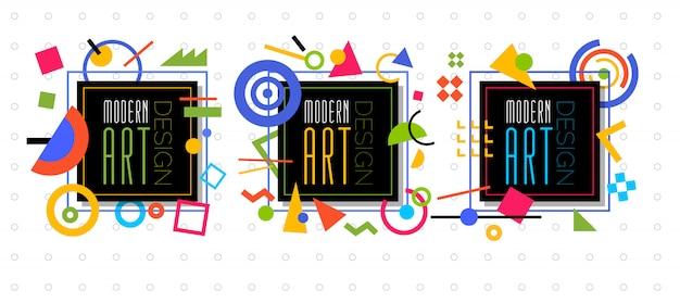 Vektor abstrakte geometrische dynamische musterrahmen modern art design