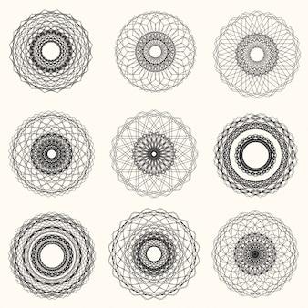 Vektor-abstrakte guilloche-elemente auf weißem hintergrund