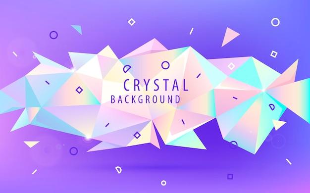 Vektor abstrakte holographische 3d-form, facettendreieck low-poly-banner, hintergrund. glänzende trendige farben horizontale ausrichtungsvorlage