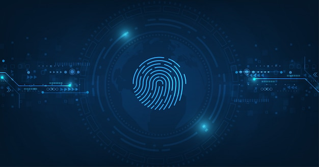 Vektor abstrakte sicherheitssystem konzept mit fingerabdruck auf technologie hintergrund.