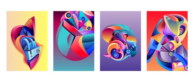 Vektor-abstrakter bunter geometrischer kurviger musterhintergrund satz