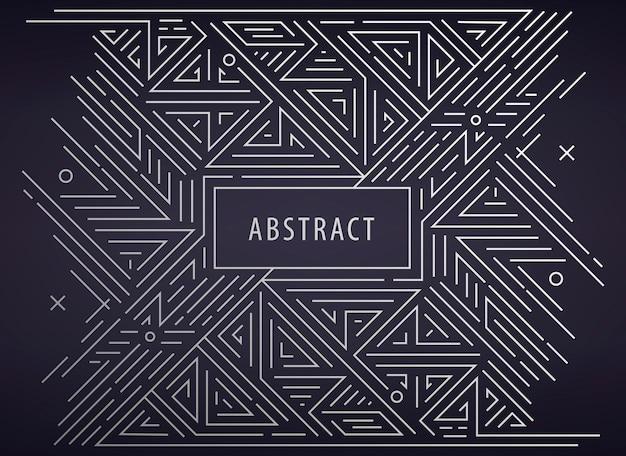 Vektor abstrakter geometrischer art-deco-rahmen, grenze, hintergrund. linearer trendiger stil. monogramm-art-deco-designelemente im trendigen vintage- und mono-line-stil mit platz für text