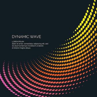 Vektor abstrakter hintergrund mit farbigen dynamischen wellen, linie und partikeln. abbildung für design geeignet