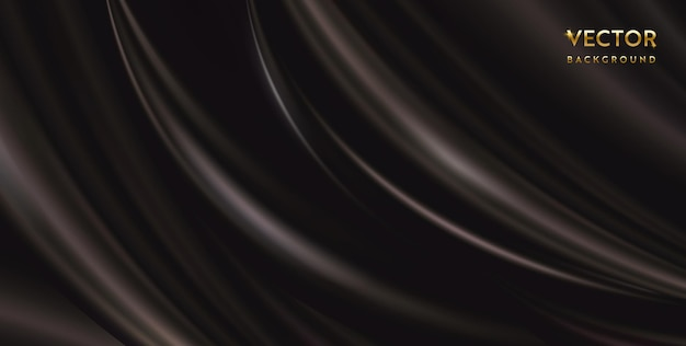 Vektor abstrakter luxus dunkelgrauer hintergrundstoff. seidenstruktur, flüssige welle, elegante tapeten mit wellenförmigen falten. realistisches illustrationssatin-samtmaterial für banner, design