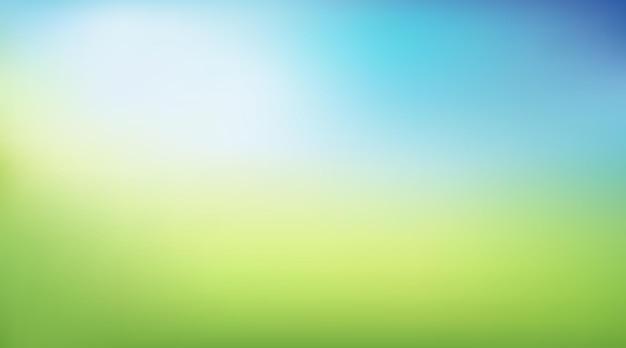 Vektor abstrakter sommer- oder frühlingshintergrund mit grünem und blauem farbverlauf für poster feldlandschaft