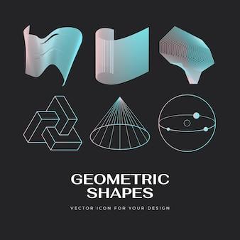Vektor abstraktes modernes geometrisches icon-design im trendigen linearen stil linear