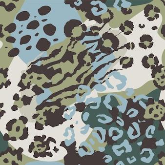 Vektor abstraktes nahtloses muster mit tierhautmotiven endloser moderner hintergrund