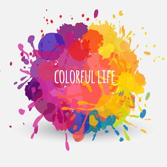 Vektor abstraktes rundes banner mit bunten farbflecken