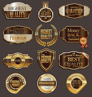 Vektor-abzeichen von gold und braun seal set