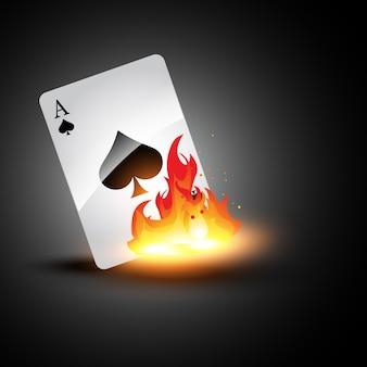 Vektor ace brennende karte