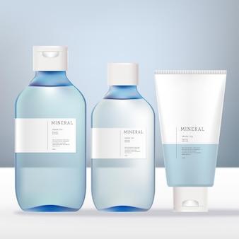 Vektor-alkohol-haar-schimmer-duft antibakterielles aroma-wasser-spray oder pumpflasche und hand