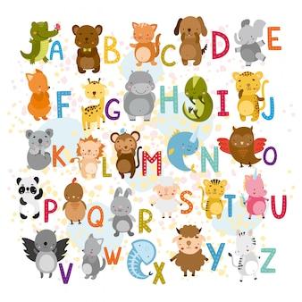 Vektor-alphabet mit niedlichen tieren