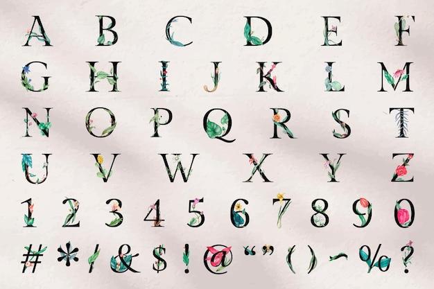 Vektor-alphabet-zeichen-nummer-set blumentypografie