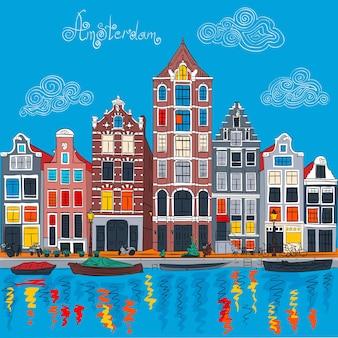 Vektor-amsterdam-kanal und typische holländische häuser