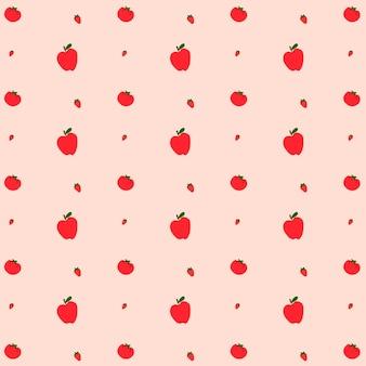 Vektor-apfel-erdbeere nahtlose hintergrundmuster
