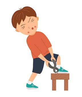 Vektor arbeitender junge. flache lustige kinderfigur, die mit einer zange einen nagel aus dem hocker herausnimmt. craft lektion illustration. konzept eines kindes, das lernt, wie man mit werkzeugen arbeitet.