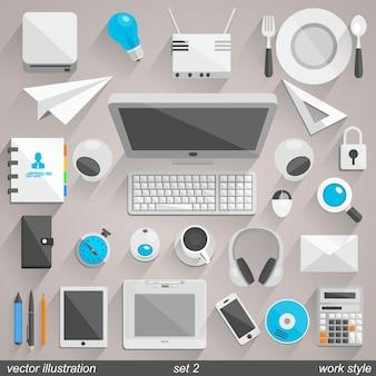 Vektor-arbeitsstilikonen. set 2 illustration art