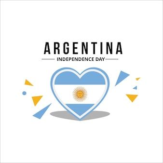 Vektor-argentinien-flagge mit hellblauer offizieller farbe mit dem sonnensymbol in der mitte des herzens