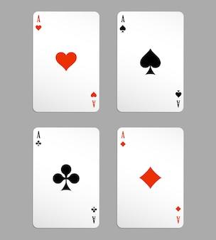 Vektor-ass-spielkarten, vier auf weißem hintergrund