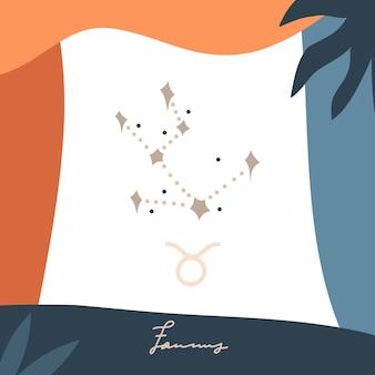 Vektor-astrologie-illustration mit druckvorlage von sternzeichen sternestier-konstellation