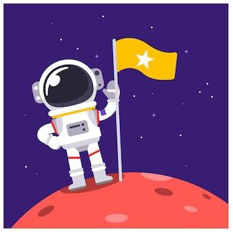 Vektor-astronauten-charakter, der auf irgendeinem planeten mit einer flagge im raum steht.