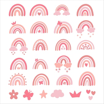 Vektor baby regenbogen illustration set. rosa hand gezeichneter moderner regenbogen des kindergartens. netter entwurf für babyparty, kinderkleidungsdruck. skandinavischer minimalistischer stil.