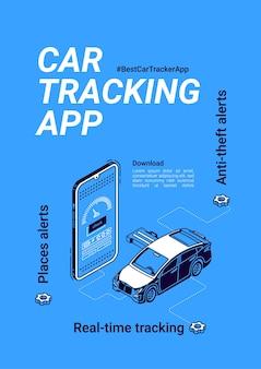 Vektor-banner der auto-tracker-app für smartphone