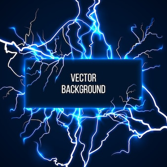 Vektor-banner mit blitzen und entladestrom. elektrizität, spannungssturm, wetter naturillustration