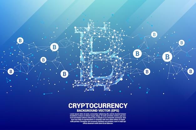 Vektor-bitcoin-symbol aus polygonpunkt verbinden linie. konzept für die kryptowährungs-technologie