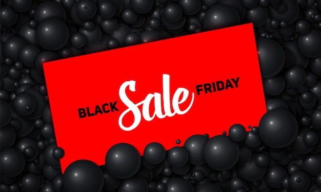 Vektor black friday sale illustration der roten karte in schwarzen perlen oder kugeln platziert