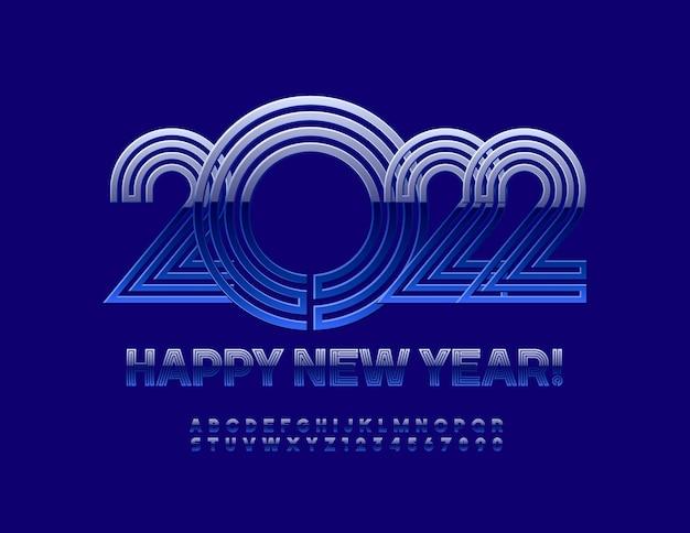 Vektor-blaue grußkarte frohes neues jahr 2022 labyrinth-stil alphabet buchstaben und zahlen gesetzt