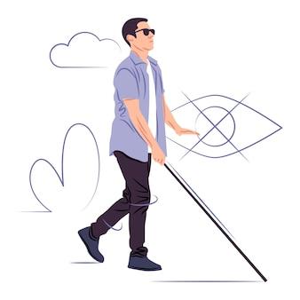 Vektor blinder mann im schatten der scharfen linienart