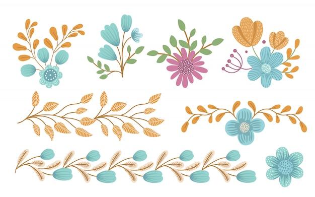Vektor blumen clipart set. handgezeichnete flache trendige illustration mit blumen, blättern, zweigen. wiese, wald, waldelemente