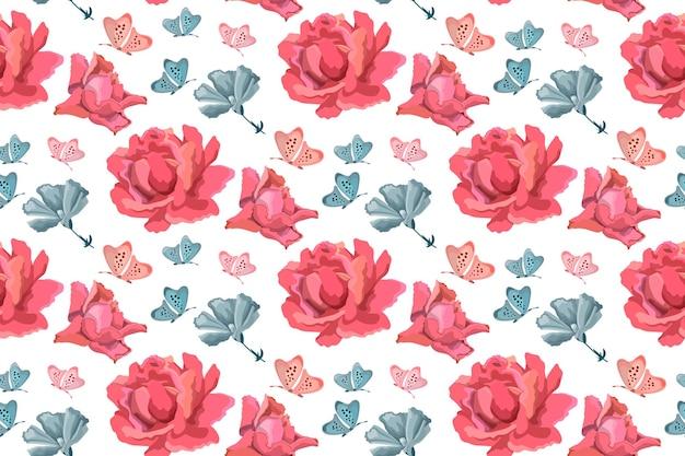 Vektor blumen nahtloses muster. blumenhintergrund mit rosa rosen, blauen gartenblumen und schmetterlingen auf weiß.
