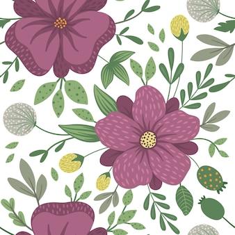 Vektor blumen nahtloses muster. flache trendige illustration mit blumen, blättern, zweigen. wiederholtes muster mit wiese, wald, waldpflanzen.