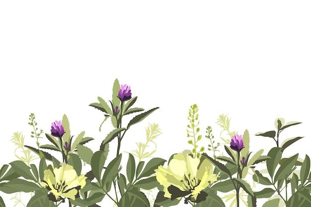 Vektor blumen nahtloses muster, grenze mit gelben und lila blüten, grüne kräuter, blätter. flammenazalee, godetia, lila klee lokalisiert auf einem weißen hintergrund.
