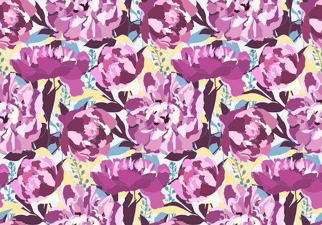 Vektor blumen nahtloses muster mit pfingstrosenblüten. lila pfingstrosen, blaue, kastanienbraune und gelbe blätter auf einem weißen hintergrund. zur dekorativen gestaltung von oberflächen.
