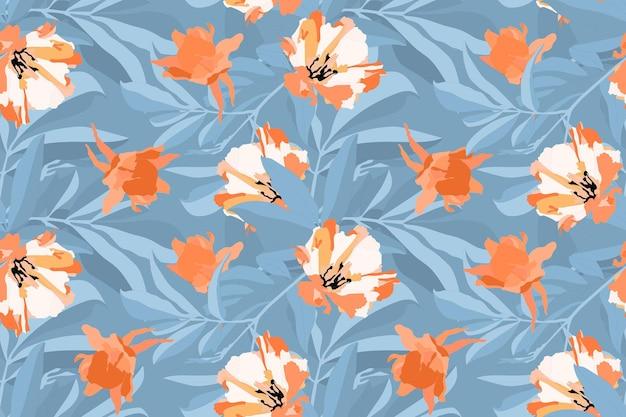 Vektor blumen nahtloses muster. orange, weiße blumen, blaue blätter lokalisiert auf einem blauen hintergrund. zur dekorativen gestaltung von oberflächen.