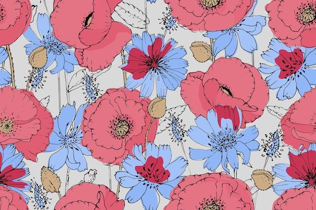 Vektor blumen nahtloses muster. rosa, rote mohnblumen, blauer chicorée. sommerblumen.