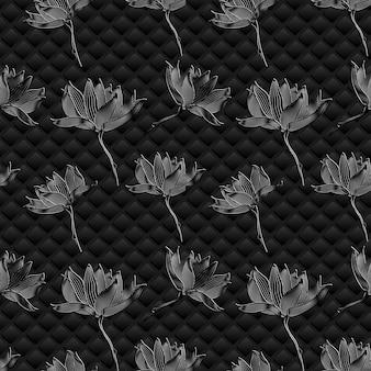 Vektor blumenhintergrund. grafische blumen auf schwarz