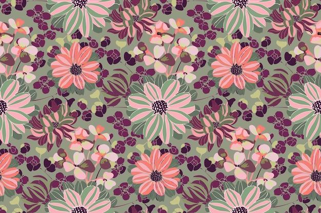 Vektor blumenmuster. rosa, lila, grüne gartenblumen, zweige und blätter lokalisiert auf olivenhintergrund. schöne chrysanthemen für stoff, tapetendesign, küchentextil, banner, karten.
