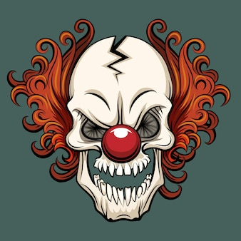Vektor böser clown. clown beängstigend, halloween clown monster, joker clown charakter illustration