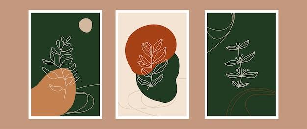 Vektor botanische wandkunst set erdton boho