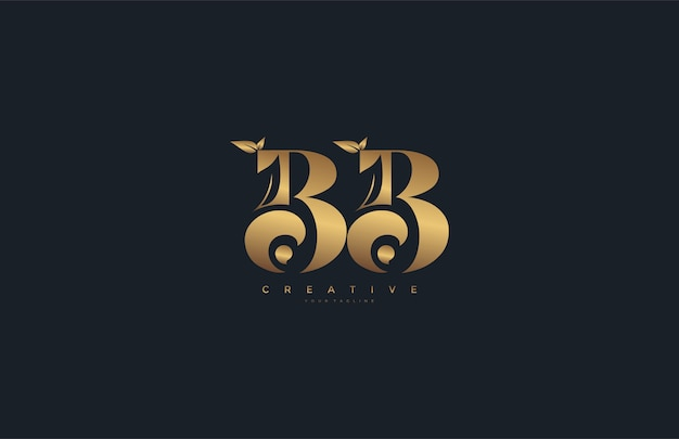 Vektor buchstabe bb monogramm blatt logo golden