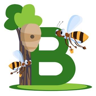 Vektor-buchstabe mit den bienen, die eimer honig im bienenstock tragen. für kinder, die englisch lernen