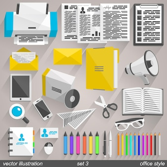 Vektor-büro-stil-ikonen. set 3 illustrationskunst