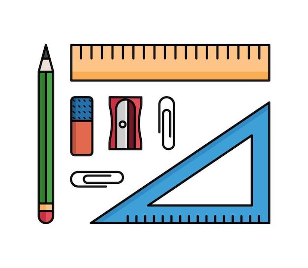 Vektor-bürobedarf. satz isolierte stationäre artikel auf dem weißen hintergrund. lineal, bleistift, bleistiftspitzer, clips.