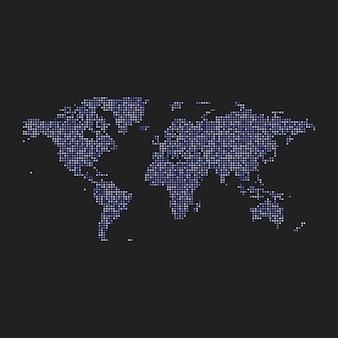 Vektor bunt gepunktete karte der welt.