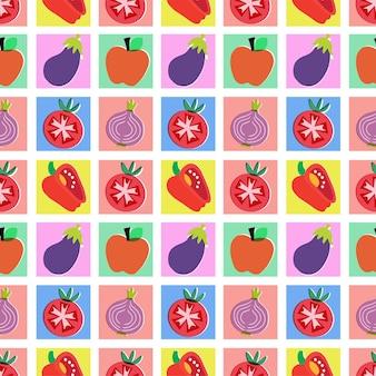 Vektor bunte früchte illustration nahtlose wiederholungsmuster wohnkultur drucken küchenstoff